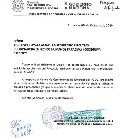 Protocolo Institucional de Prevención y Protección ante el Covid19 de la Codehupy, aprobado por Ministerio de Salud y Bienestar Social