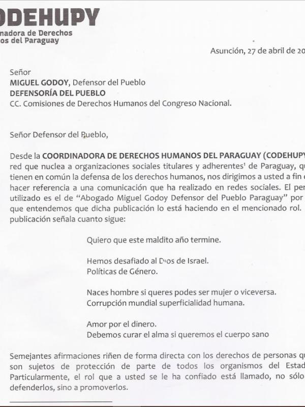 Codehupy solicita rectificación del Defensor del Pueblo por declaraciones que van contra su deber Constitucional