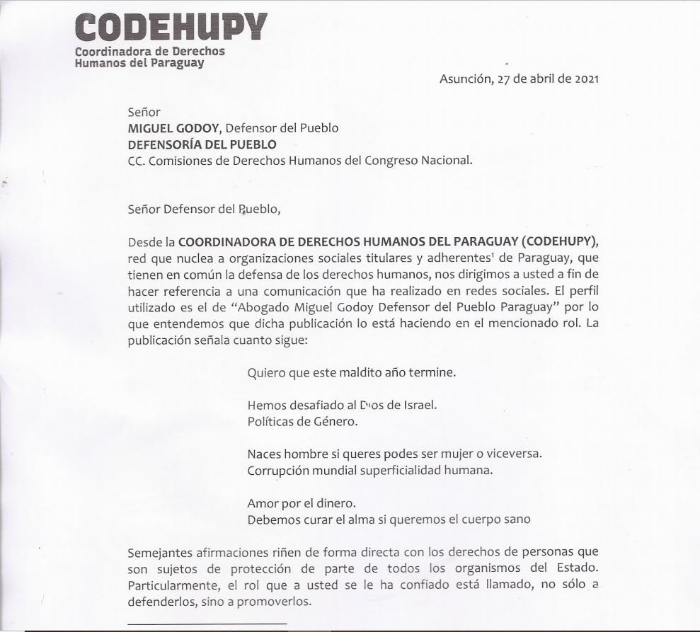 Parte de la nota presentada a la Defensoría del Pueblo.